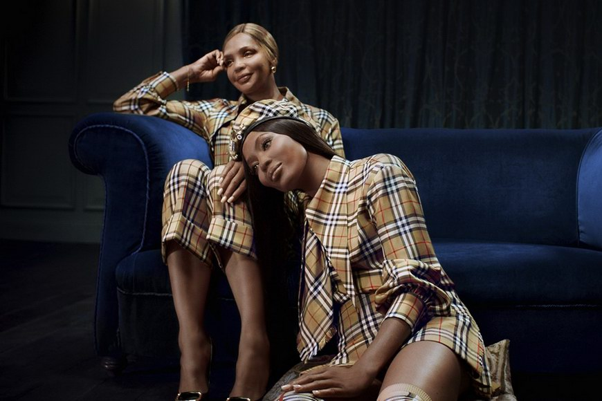Naomi Campbell and her mother Valerie Morris-Campbell wearing pieces from the Vivienne Westwood & Burberry collaboration .photo © Burberry