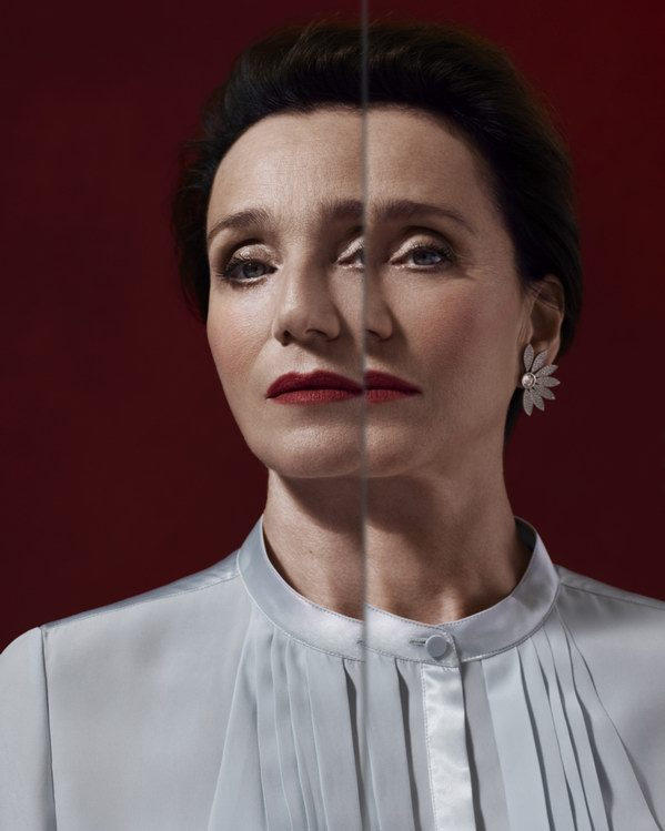 Portrait of Kristin Scott Thomas . photo © Burberry